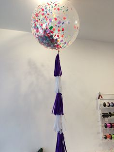 Diamond Clear 3ft with Colourful confetti and tassels!