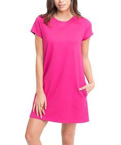 Look at this #zulilyfind! Fuchsia Pocket Crewneck Shift Dress #zulilyfinds