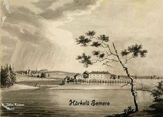 Härkälän kartano, Somero 1840-luvulla Johan Knutsonin piirroksessa.