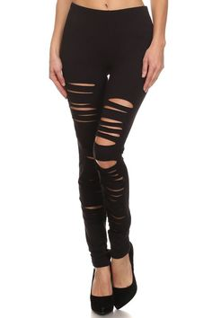 Ripped Black Cotton Leggings | OnlyLeggings.com