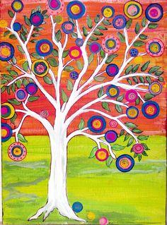 Tree+of+Life+3+Original+mexican+folk+art+Happy+Tree+by+icColors,+$216.00