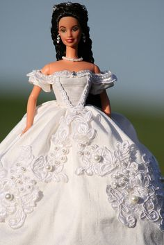 Sissi Barbie in a white silk gown by Bavarian Dolls, via Flickr