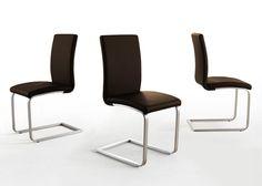 4 Design Freischwinger Stuhl Edelstahl Braun 4045. Buy now at https://www.moebel-wohnbar.de/4-design-freischwinger-stuhl-edelstahl-braun-4045.html