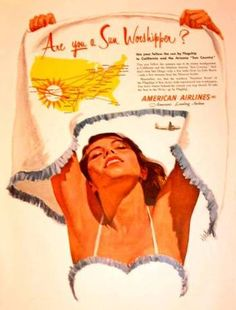 Love the swimsuit with matching jacket in this vintage American Airlines ad.