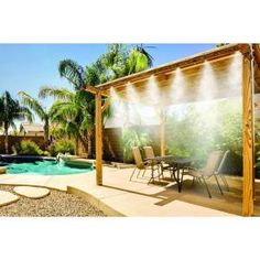 Misty Mate Cool Patio Deluxe Outdoor Misting Kit Brass & Stainless Steel Misting Nozzles i want these for the lake Backyard Projects, Outdoor Projects, Backyard Patio, Backyard Landscaping, Gravel Patio, Concrete Patio, Outdoor Spaces, Outdoor Living, Outdoor Decor