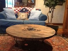 cable reel spool top coffee table with repurposed aluminium