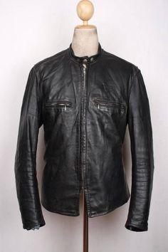 Vtg 60s BROOKS Gold Label STEERHIDE Leather Motorcycle Jacket CAFE RACER Lrg