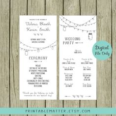 Wedding Program - Double Sided, Front and Back - Design #1-1 - Rustic Mason Jar Lights - Instant Download Editable Printable File by PrintableMatter, $18.00