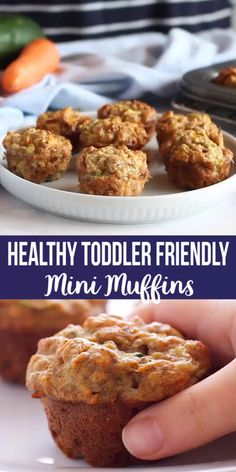 These Healthy Toddler Friendly Mini Muffins are a great snack for kids, sweetened only with fruit and full of vegetables and whole grains! Healthy Toddler Snacks, Healthy Baby Food, Healthy Sweets, Healthy Muffins For Toddlers, Toddler Veggie Muffins, Healthy Snacks For Kids On The Go, Healthy Toddler Breakfast, Toddler Finger Foods, Healthy School Snacks
