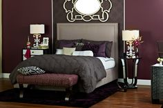 Deep plum colors with high-end, lavish touches within every piece of the room. A Socialite styled room, indeed.    Find out what type of home decor style you have by taking our Stylescope quiz. Click here!