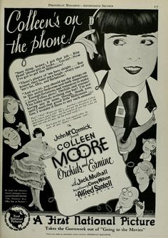 Magazine advert for 'Orchid and Ermine' starring Colleen Moore and Jack Mulhall (Photoplay March 1927)