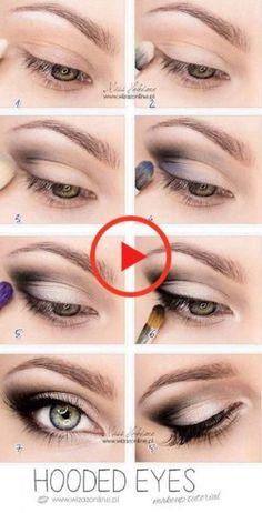 Top 10 Simple Makeup Tutorials For Hooded Eyes style & beauty eye makeup looks for hooded eyes - Eye Makeup Eye Makeup Steps, Cat Eye Makeup, Blue Eye Makeup, Makeup For Brown Eyes, Edgy Makeup, Makeup Style, Devil Makeup, Fall Makeup, Eyebrow Makeup
