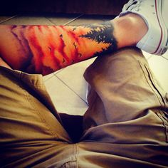 Sunset view, leg work, tattoo Lower Leg Tattoos, Men's Leg Tattoos, Ankle Tattoo Men, Love Tattoos, Tattoos For Guys, Beautiful Tattoos, Tattoo Legs, Tattos, Skin Art