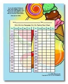 This website features a story about a girl 's first fast... fasting charts, quran reciting charts, and more!