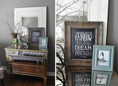 Love the staging on this mirrored dresser in the Gray guest #bedroom from Jennifer of Dear Lillie blog