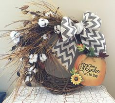 A personal favorite from my Etsy shop https://www.etsy.com/listing/455187942/give-thanks-fall-pumpkin-cotton-pinecone