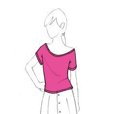 patron de couture de top en jersey Tiaré pdf à télécharger de Christelle Beneytout à coudre à la recouvreuse
