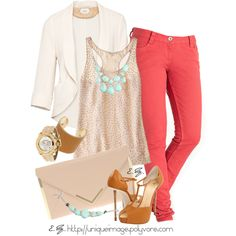 Coral skinnies. Love the accessorizing.
