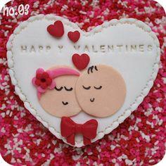 galleta boda Valentines Surprise, Valentines Day Cakes, Valentine Desserts, Valentine Cookies, Fondant Cookies, Cupcake Cookies, Cake Decorating Supplies, Wedding Cookies, Love Cake