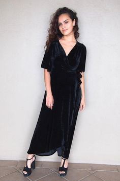 Take a twirl in the Wrapped In Luxe Black Velvet High Low Maxi Dress. Luxe stretch velvet drapes elegantly across a wrap bodice with with short kimono sleeves, plunging neckline and adjustable straps that tie at waist. Event Dresses, Holiday Dresses, Party Dresses, Dinner Dresses, Fall Dresses, Cocktail Dresses, Going Out Dresses, Cute Dresses, Short Dresses