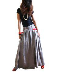 Maxiröcke - Red-Tasche Langer Rock Baumwolle linenin grau - ein Designerstück von idea2lifestyle bei DaWanda