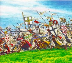 Grand Master of the Teutonic Order Ulrich von Jungingen leads into battle last reserve, Battle of Grunwald, 1410