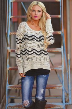 Any Direction Chevron Knit Sweater from Closet Candy Boutique #fashion #shop