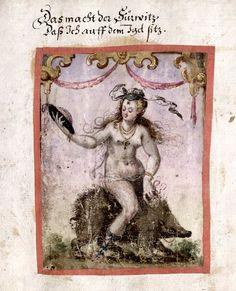 "Igelreiterin from the album amicorum of Paul Jenisch, compiled between 1575 and 1647. Verse caption evidently traditional: ""Das macht der Furwitz/ Dass Ich auff dem Igel sitz"" [It is curiosity that makes me sit on the hedgehog]. Wurttembergische Landesbibliothek, Stuttgart, Cod. hist. 8o 298, f.242v. The motif is also found with same caption as a Swiss glass Wappenscheibe dated 1568 attributed to Balthasar Federlin of Konstanz"