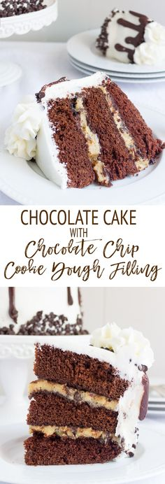 This CHOCOLATE COOKIE DOUGH CAKE is epic and downright delicious! This light and fluffy 3-layer chocolate cake with cookie dough filling is paired with buttercream frosting and a chocolate ganache drip. A chocolate and cookie dough lover's dream!