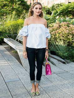 Versuch dich am Mustermix, trage auch mal Farbe im Winter und hab immer ein Jeanshemd im Schrank: Das ist der typische Olivia Palermo Style.