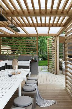 60 attached pergola design and features for your dream home 10 Backyard Pergola, Pergola Shade, Backyard Landscaping, Landscaping Ideas, Outdoor Rooms, Outdoor Living, Outdoor Decor, Outdoor Kitchens, Pergola Designs