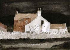 John Knapp-Fisher(British, The Empty Farmhouse 2009 Ink and watercolour iamjapanese: Watercolor Architecture, Watercolor Landscape, Landscape Paintings, Abstract Paintings, Landscape Art, Watercolor Paintings, Local Painters, Building Painting, Types Of Art
