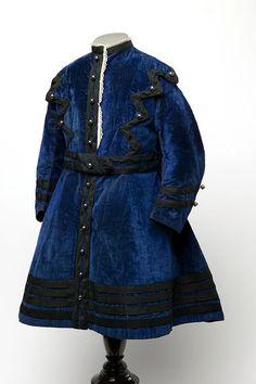 Little boy's blue velvet dress with black trim, English, 1868.