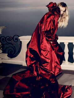 Vogue Nippon August 2008 - red satin cape - 2008