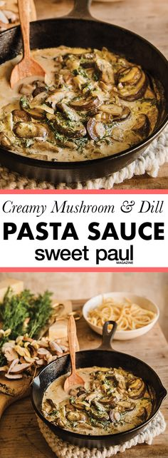 A rich and decadent cream sauce flavored with mushrooms and dill! The sauce is so good not just on pasta but also on mashed potatoes chicken steak fish or lamb. Seared Salmon Recipes, Pan Fried Salmon, Pan Seared Salmon, Creamy Dill Sauce, Mushroom Cream Sauces, Tomato Cream Sauces, Mushroom Pasta, Pasta Recipes, Gourmet