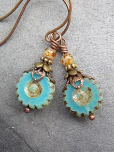Blue Turquoise Picasso Czech Beaded by NickiLynnJewelry on Etsy, $15.00