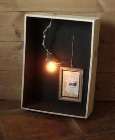 HANDMADE Photo Lightbox #211 _ Made in December 2014 | Large wood wine box + Framed collage + light DIMMER |
