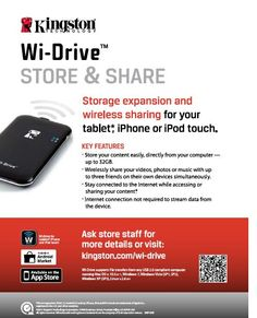Wireless portable storage for iPad, iPod touch, iPhone, Android, tablets