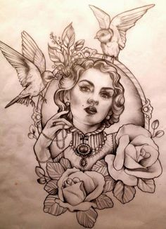 Vintage style framed tattoo flowers and birds