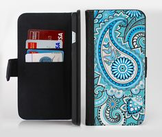 The Vibrant Blue and White Paisley Design  Ink-Fuzed Leather Folding Wallet Credit-Card Case for the Apple iPhone 6/6s, 6/6s Plus, 5/5s and 5c from DesignSkinz