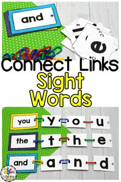 Are you looking for an interactive word work activity? These Connect Links Sight Word Cards are a fun, hands-on way for children to practice recognizing and spelling sight words. Your preschoolers, kindergartners, and first graders will also develop their fine motor skills as they connect the links to the cards. This activity includes 99 sight words that can be used for morning tubs, literacy centers, or early finishers. Click on the picture to learn more about this word work center! #sightwords