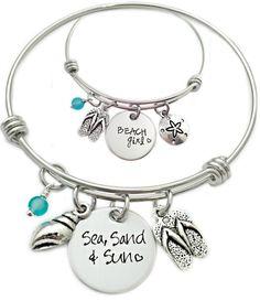 Sea Sund & Sand Hand Stamped Beach Bracelets.... http://www.beachblissdesigns.com/2016/09/sea-sand-sun-hand-stamped-beach-bliss.html