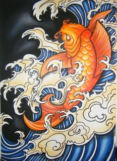 -Koi carp painting -traditional japanese tattoo art--il regalo ... I would want to substitute the legit Koi for the mermaid version i love so much