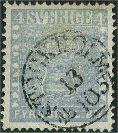 Sweden 4 Skilling Banco 1855 - Ljust gråblå med utflutet tryck (Facit-Nr 2k2) Medeltjockt papper Färgstyrka 4-5 Leverans 11 (delleverans 11g) Stämplade från 09.1857 Upplaga 10 000