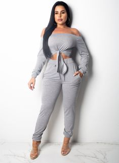 f32a6ab96 Gray Off Shoulder Crop Top And Pants Set Search shop in bio! Dear Fashion