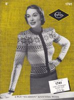 vintage ladies fair isle cardigan 17411940s