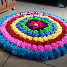 Carpet Runners On Stairs Pictures Pom Pom Crafts, Yarn Crafts, Sewing Crafts, Woolen Flower, Pom Pom Rug, Pom Poms, Crochet Mat, Camping Crafts, Yarn Projects