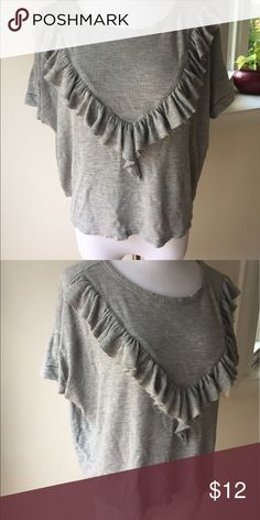 Waffle knit ruffle Tshirt Simply but fun! Waffle knit T-shirt with raw hem ruffle across bust. Wore once. Ginger G Tops Tees - Short Sleeve