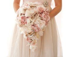 Drop Dead Gorgeous Bouquet! Fabric Flower Custom Wedding Drop Bouquet with by Cultivar on Etsy