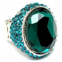 Glynna's Glamorous Oval Shape Teal Blue Crystal Cocktail Ring ($28) ❤ liked on Polyvore featuring jewelry, rings, accessories, gioielli, green, band rings, adjustable rings, crystal cocktail ring, green ring and statement cocktail rings